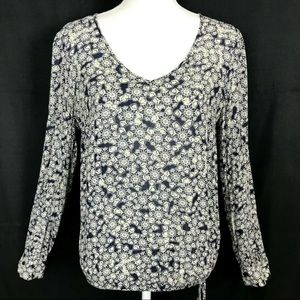 Lucky Brand White Blue Geo Boho Peasant Blouse M